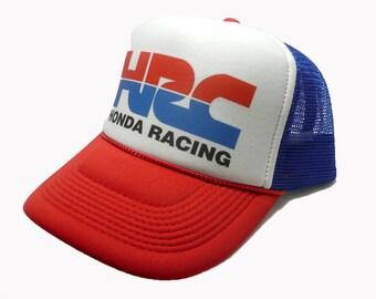 d6a9df82c7cd4 Honda motorcycles HRC racing hat trucker hat mesh hat snap back hat red  white blue motocross hat