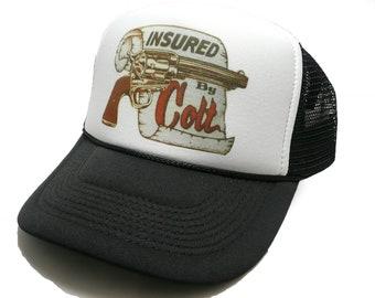 e3391ddd Vintage Insured by Colt hat trucker hat adjustable snapback hat black new  unworn