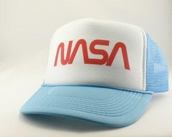 fb772fcea21 NASA Trucker Hat Mesh Hat Snapback Hat new adjustable script