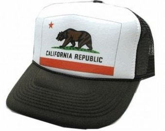 New California Republic Flag Trucker Hat Mesh Hat Snap Back Hat YOU CHOOSE COLOR hat!