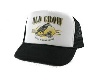 Old Crow Whisky hat Trucker Hat Mesh Hat  Snap Back Hat black