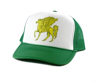 Pegasus hat Trucker Hat Mesh Hat  Snap Back Hat  yellow with green