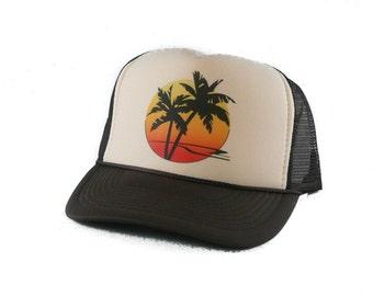 Sunset Palms hat Trucker Hat Mesh Hat  Snap Back Hat tan brown