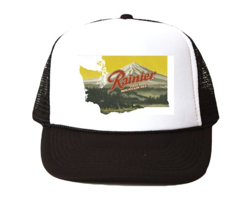b8d6e212316 Vintage Rainier Beer hat Trucker Hat mesh hat black new