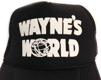Get it in 1-3 days! Wayne's World Hat Trucker hat Mesh Hat Snap Back Hat black Priority mail