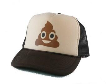 Poop Emoji hat Trucker Hat Mesh Hat  Snap Back Hat tan brown