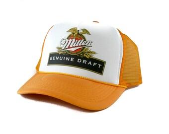Miller Genuine Draft beer hat Trucker Hat Mesh Hat  Snap Back Hat yellow