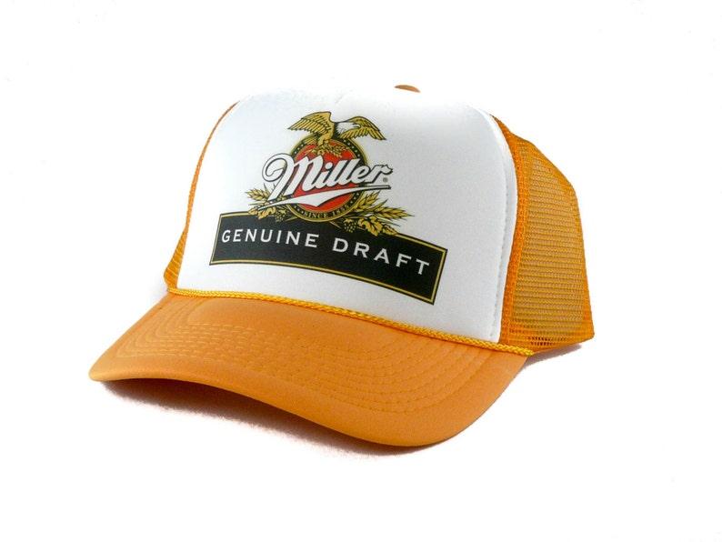 8e8a3a5dd90 Miller Genuine Draft beer hat Trucker Hat Mesh Hat Snap Back