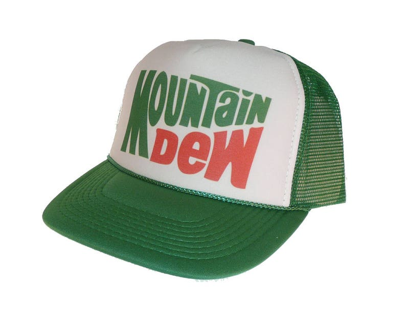 Vintage Mountain Dew soda Hat Trucker Hat snap back adjustable  a74481ccf3cd