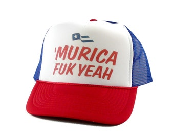 Murica Fuk Yeah hat Trucker Hat Mesh Hat  Snap Back Hat rwb