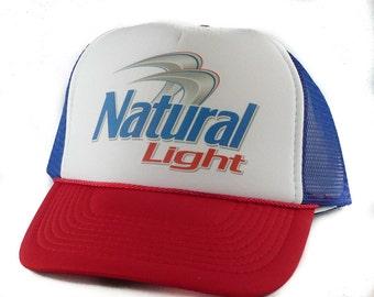 Natural Light beer Trucker Hat Mesh Hat Snap Back Hat rwb