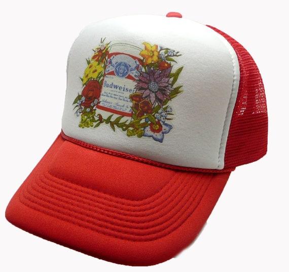 Budweiser Beer Hat mesh hat snap back cap Red New adjustable Vintage 1980's Trucker Hat