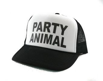 Party Animal hat Trucker Hat Mesh Hat  Snap Back Hat black