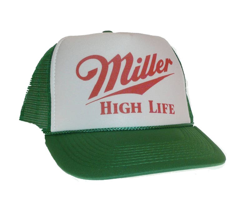 7ffcbc11d Vintage Miller High Life beer Hat Trucker Hat snap back adjustable one size  fits most green