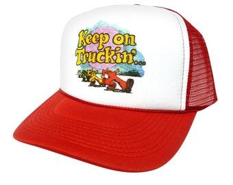 Keep On Truckin' Trucker Hat Mesh Hat Adjustable Vintage Cap