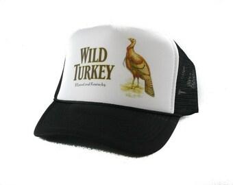 Wild Turkey Whisky hat Trucker Hat Mesh Hat  Snap Back Hat black