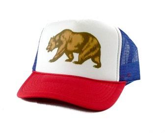 California Bear hat Trucker Hat Mesh Hat  Snap Back Hat rwb