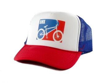 BMX bike hat Trucker Hat Mesh Hat  Snap Back Hat rwb