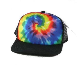 Tie-dye hat Trucker Hat Mesh Hat  Snap Back Hat black