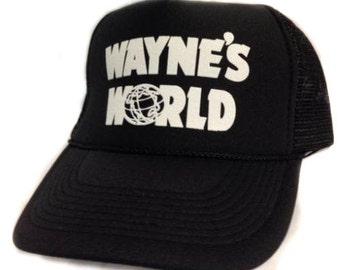 Wayne's World Trucker Hat Mesh Hat  Snap Back Hat  Black movie