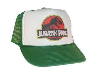 Jurassic Park hat Trucker Hat Mesh Hat Snap Back Hat green movie hat adjustable