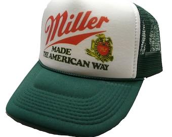 Miller Beer Trucker Hat mesh hat snap back hat Dark Green new adjustable Made the American way
