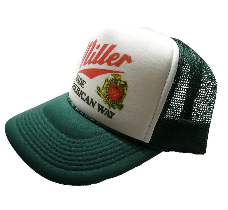 df70c810 Miller Beer Trucker Hat mesh hat snap back hat Dark Green new | Etsy