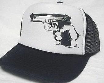 New 9mm Handgun Trucker Hat Mesh Hat Snap Back Hat YOU CHOOSE COLOR hat!