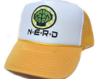 NERD Trucker Hat Mesh Hat  Snap Back Hat  Yellow