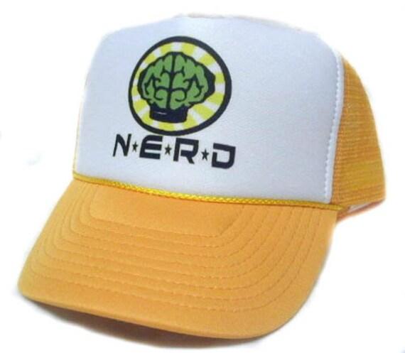 NERD Trucker Hat Mesh Hat Snap Back Hat Yellow  f8effac6df0a
