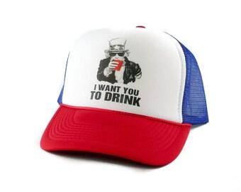 I Want You To Drink hat Trucker Hat Mesh Hat  Snap Back Hat rwb
