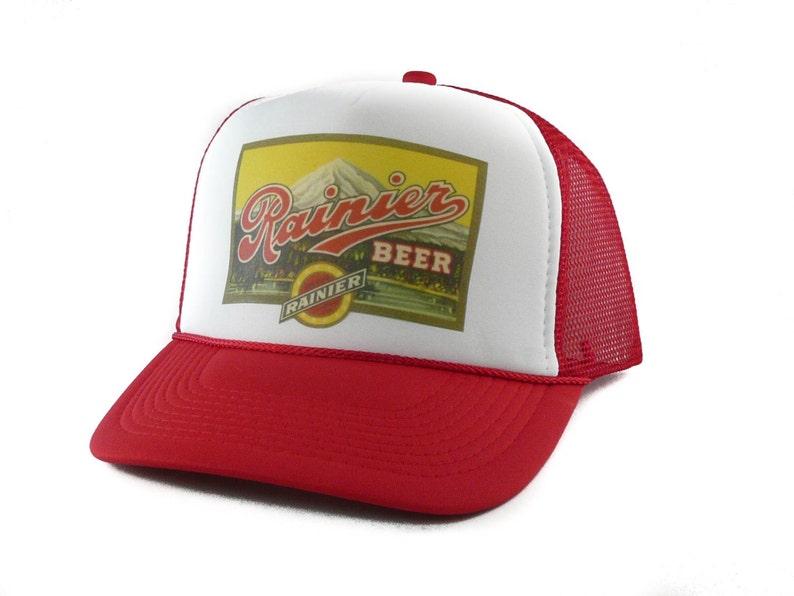 Rainier Beer hat Trucker Hat Mesh Hat Snap Back Hat red new  1ccbbeaf112