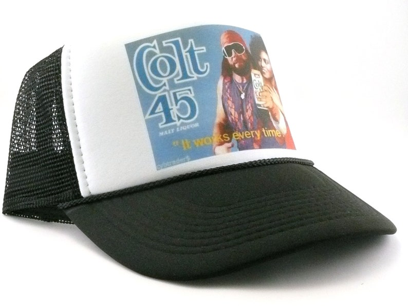 7f4d940bd24 Colt 45 Malt Liqueur beer hat Macho Man trucker hat works