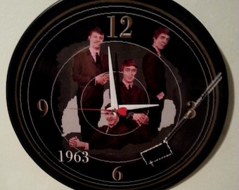 The Beatles - 1963 - 12 inch Wall Clock with red heart second hand / Let It Be / Early / George / John / Ringo / Paul