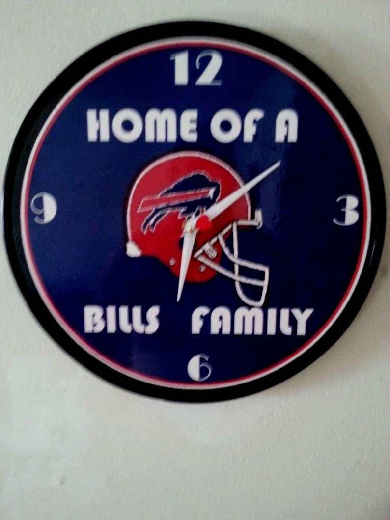 Buffalo Bills Family 12 Inch Wall Clock Made From A 12 Inch Recycled Vinyl Record Plus Free Buffalo Bills Laminated Sign Ready For The Game