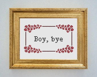 Framed 'Boy, bye' cross stitch - inspired by the Women's March