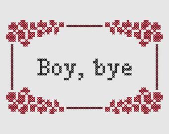 Cross stitch pattern 'Boy, bye' - inspired by the Women's March on Washington