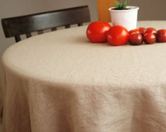 Linen round tablecloth / Washed soft linen tablecloth / stonewashed linen round tablecloth / Beige tablecloth