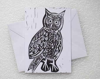 Card Lino Print / Owl A6