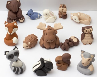 Fondant woodland animal cake toppers - Ready to ship! - Estimated arrival in 3-5 business days