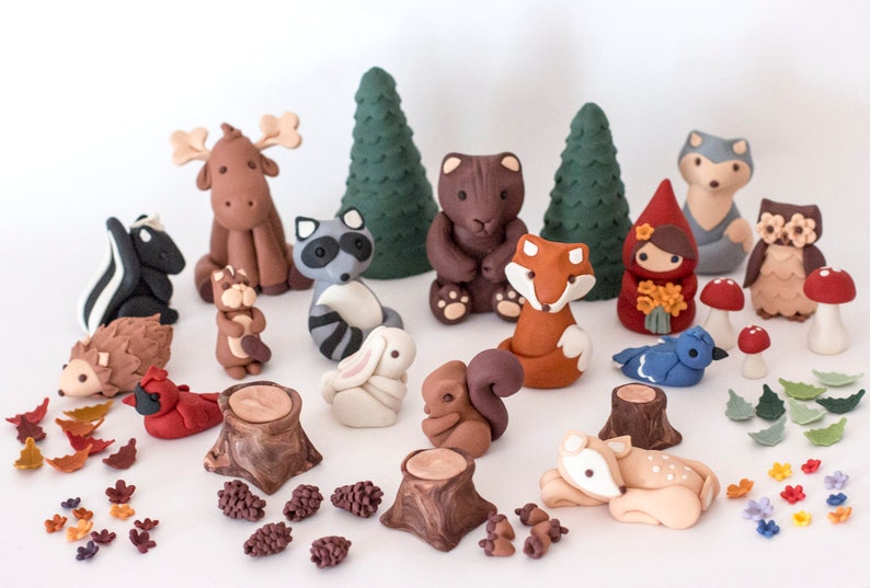 Fondant woodland cake toppers  Ready to ship Get them in 2-4 image 0