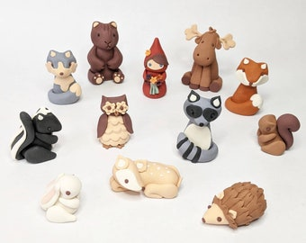 Fondant woodland animal cake toppers - Ready to ship! (No custom orders)