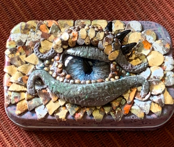 Polymer Clay Dragon Eye Tin Box