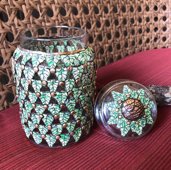 Polymer 'Green Leaf' Jar with Lid