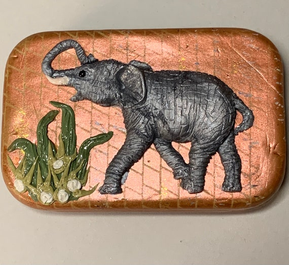 Polymer Clay 'Elephant' Tin