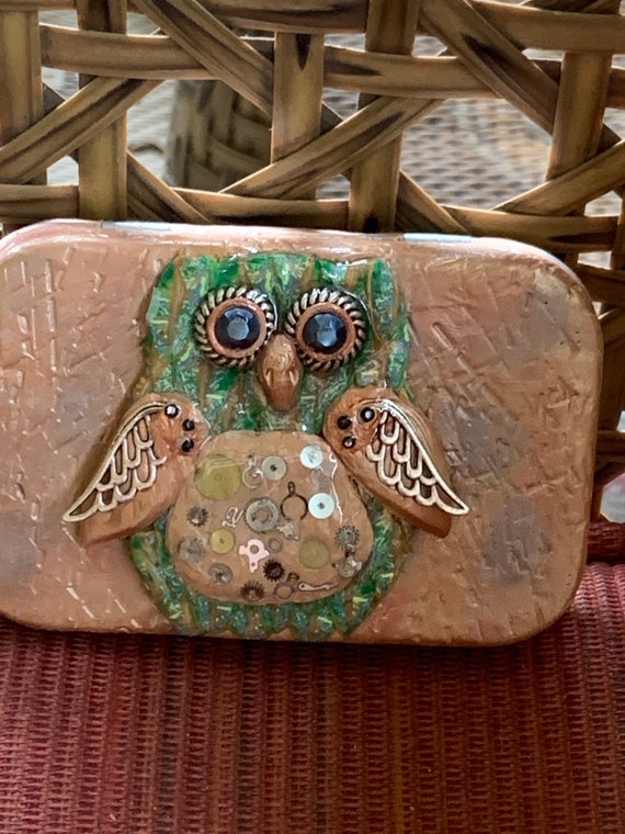 "Polymer Clay ""Steam Punk Owl"" Tin Box"