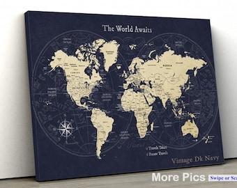 Personalized Anniversary Pushpin World Map.Push Pin Travel Map Etsy