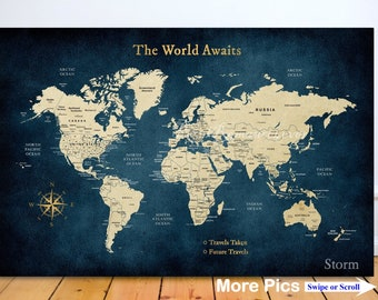 push pin travel map world map us map anniversary gift for husband wife christmas gift wedding gift personalized travel map