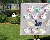 Modern Swans Handmade quilt