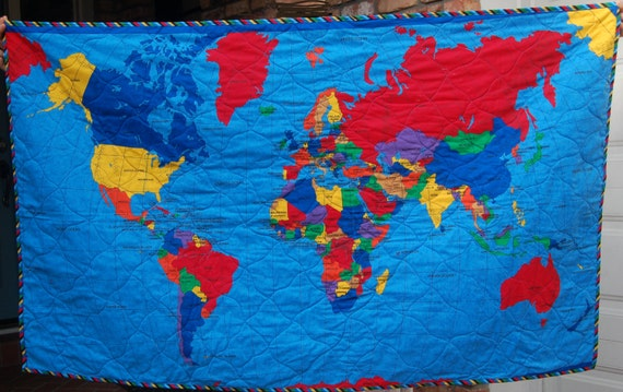 Kids quilt with us map and world map on reverse etsy kids quilt with us map and world map on reverse gumiabroncs Gallery